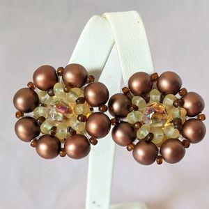 Vintage West German Copper Bead Clip Earrings